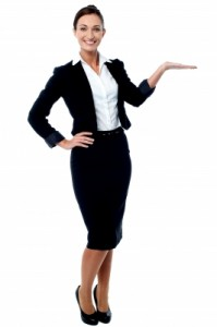 businesswoman promoting her skills