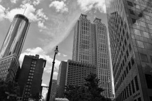 atlanta office buildings - black and white